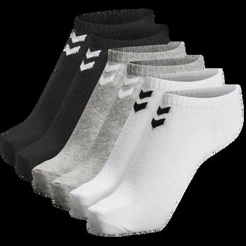 hmlCHEVRON 6-PACK ANKLE SOCKS, WHITE/BLACK/GREY, packshot