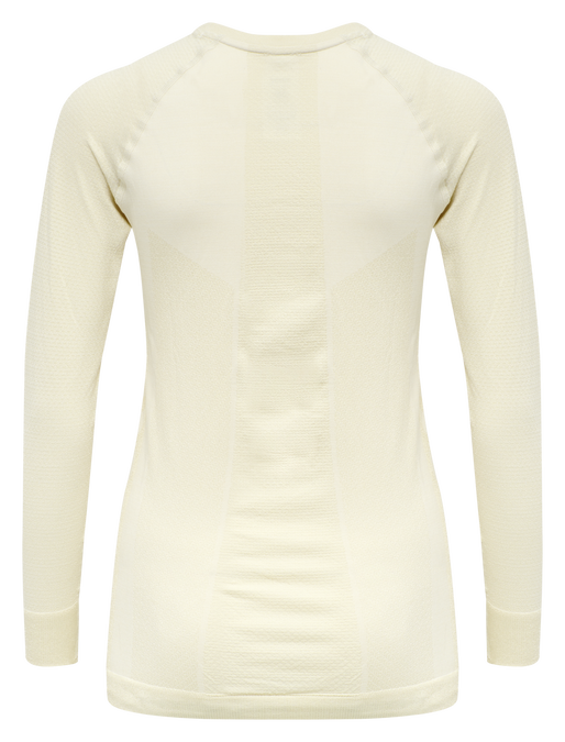 hmlCLEA SEAMLESS T-SHIRT L/S, BONE WHITE, packshot