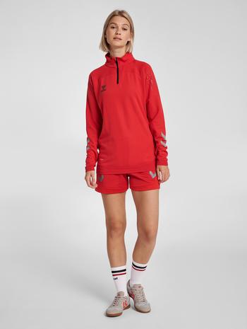 hmlLEAD WOMAN HALF ZIP , TRUE RED, model