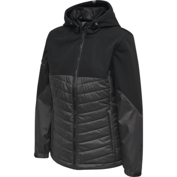 hmlNORTH HYBRID JACKET WOMAN, BLACK/ASPHALT, packshot