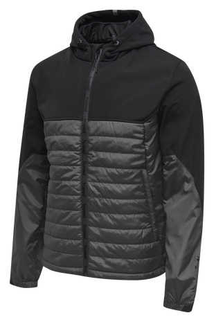 hmlNORTH HYBRID JACKET, BLACK/ASPHALT, packshot
