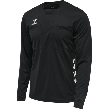 hmlREFEREE CHEVRON JERSEY L/S, BLACK, packshot