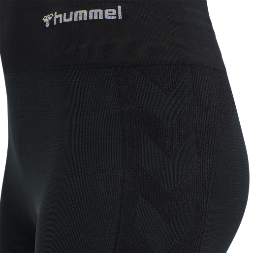 hmlCLEA SEAMLESS MID WAIST TIGHTS, BLACK MELANGE, packshot