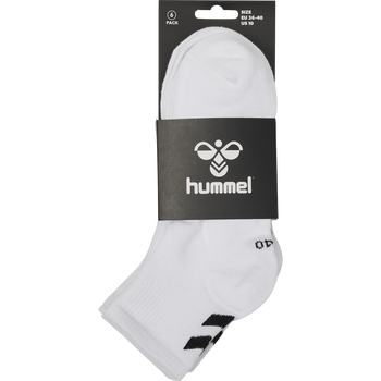 hmlCHEVRON 6-PACK MID CUT SOCKS, WHITE, packshot