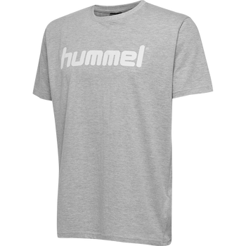 HUMMEL GO KIDS COTTON LOGO T-SHIRT S/S, GREY MELANGE, packshot