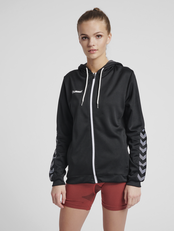 hmlAUTHENTIC POLY ZIP HOODIE WOMAN, BLACK/WHITE, model