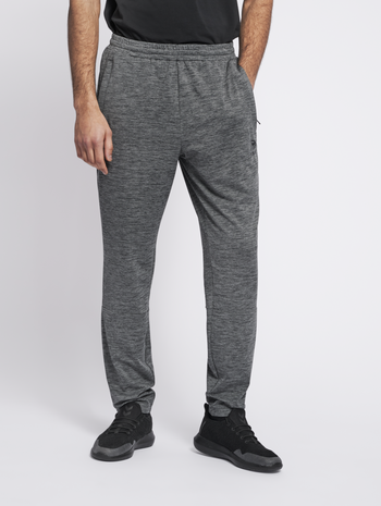 hmlASTON TAPERED PANTS, DARK GREY MELANGE, model