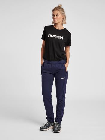 HUMMEL GO COTTON LOGO T-SHIRT WOMAN S/S, BLACK, model