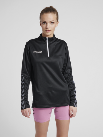hmlAUTHENTIC WOMEN POLY ZIP JACKET, BLACK/WHITE, model