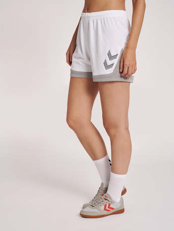 hmlLEAD WOMENS POLY SHORTS, WHITE, model