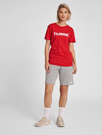 HUMMEL GO COTTON LOGO T-SHIRT WOMAN S/S, TRUE RED, model