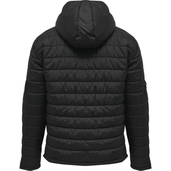 hmlNORTH QUILTED HOOD JACKET, BLACK/ASPHALT, packshot