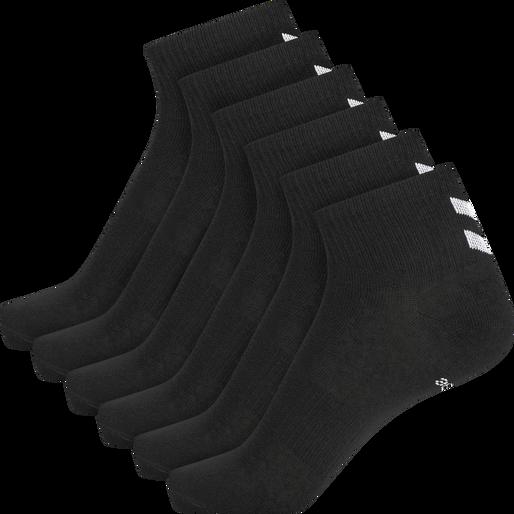 hmlCHEVRON 6-PACK MID CUT SOCKS, BLACK, packshot