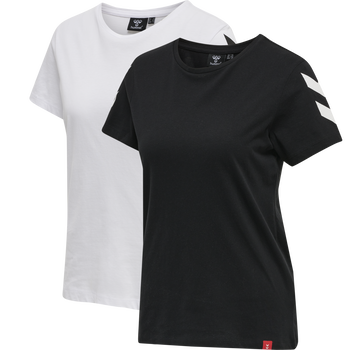 hmlLEGACY 2-PACK WOMAN T-SHIRT, BLACK/WHITE, packshot