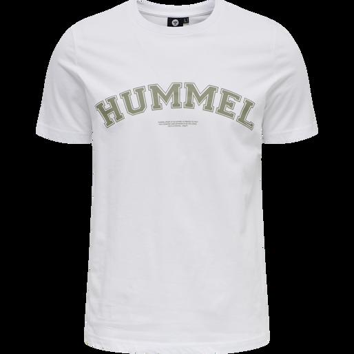 hmlVARSITY T-SHIRT, WHITE, packshot