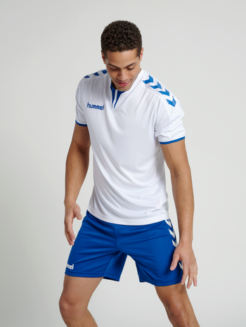 CORE SS POLY JERSEY, WHITE/TRUE BLUE, model